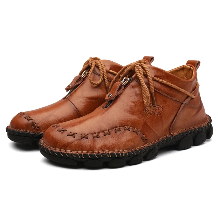 Konhill Men's Hand Stitching Leather Boots