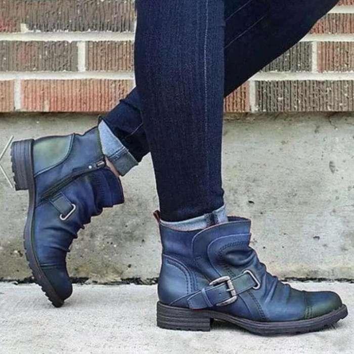 Women's Retro Casual Soft Leather Pleated Zipper Belt Buckle Low Heel Ankle Boots