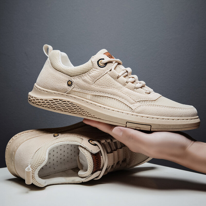 Men PU Fabric Splicing Non Slip Breathable Casual Shoes