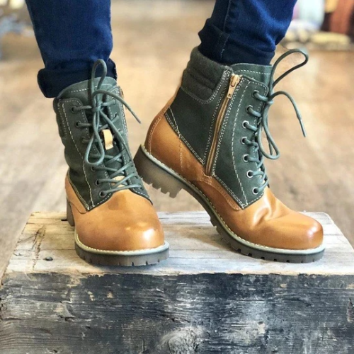 Women's Lace Up Casual Daily Color Matching Boots