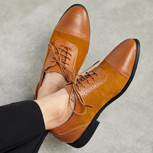 Low-Cut Upper Lace-Up Patchwork Men's Dress Shoes