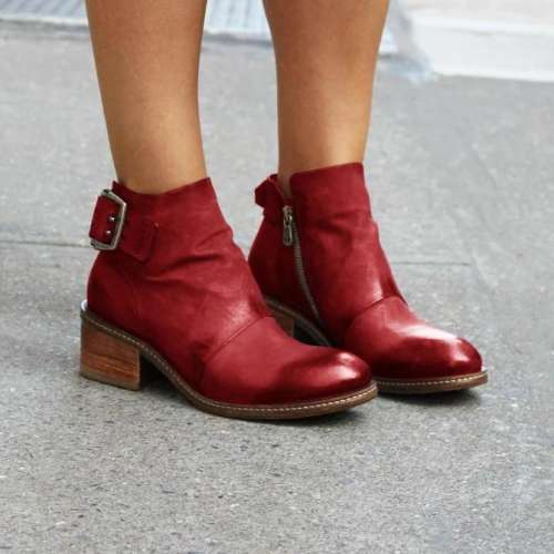 Artificial Leather Block Heel Dress Boots