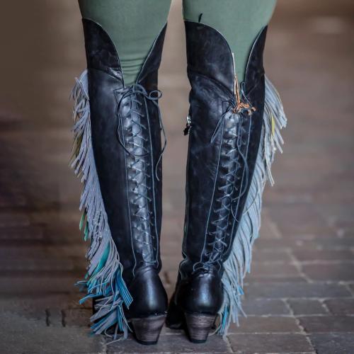 Women Side Zipper Suede Low Heel Boots