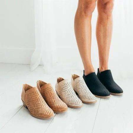 *Back Zipper Hollow Out Ankle Boots Daily Presley Perforated Booties