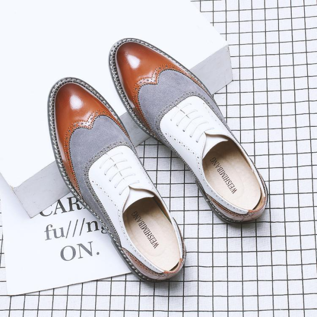 Wear to Work Low-Cut Upper Color Block Round Toe Men's Business Shoes