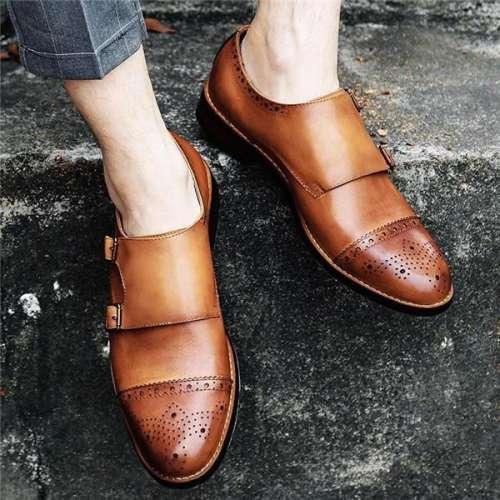 New Retro Bouble Buckle Bullock Men's Shoes