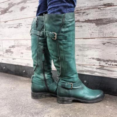 Women's Vintage Buckle Cozy Wide Calf Boots