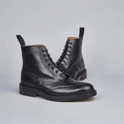 Vintage Calf Leather Brogue 7-eyelet Derby Ankle Boots