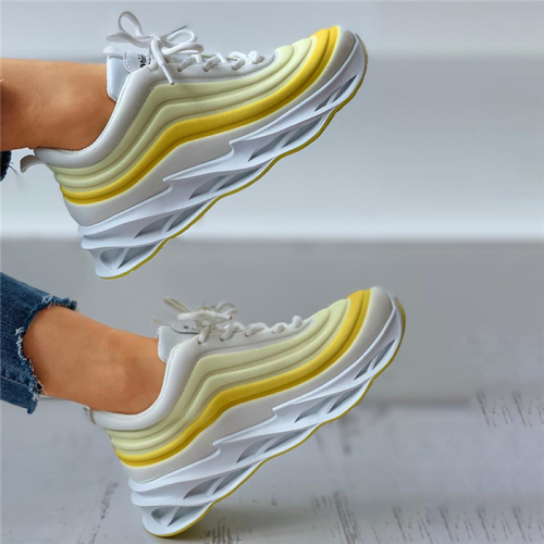 Colorblock Lace-up Muffin Breathable Sneakers