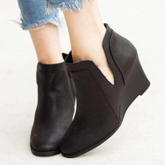 Plain Velvet Round Toe Casual Outdoor Boots