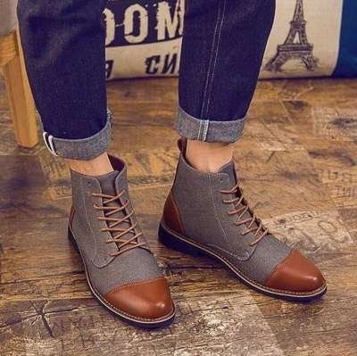Cotton Fabric Lace-up Boots