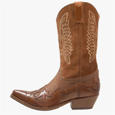 Fashion Western Cowboy High Quality Men PU Leather Boots