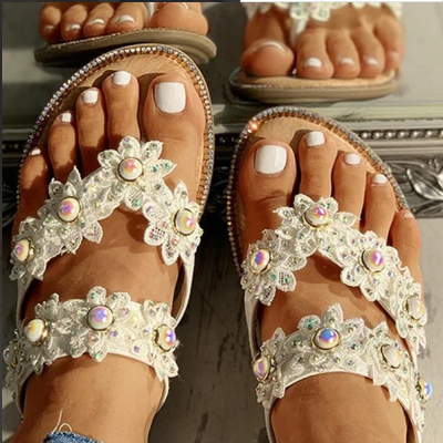 2020 New And Fashional Woman Sofiawears Studded Toe Post Flat Slipper Sandals