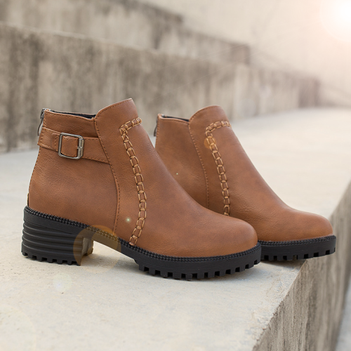 Ankle Mid Block Heels Square Toe Sepatu Boots