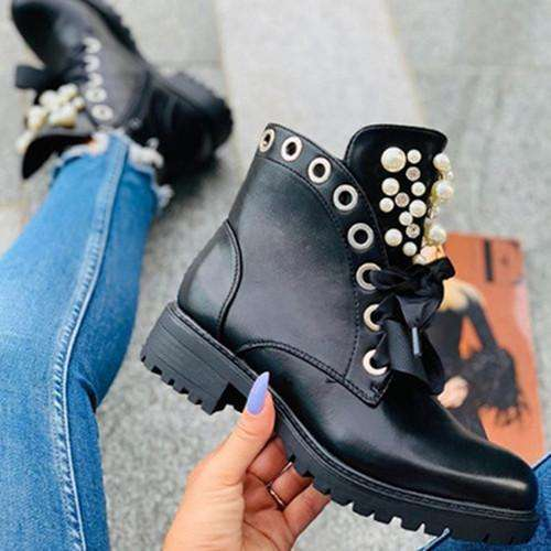Lacing Pearl Ankle Boots