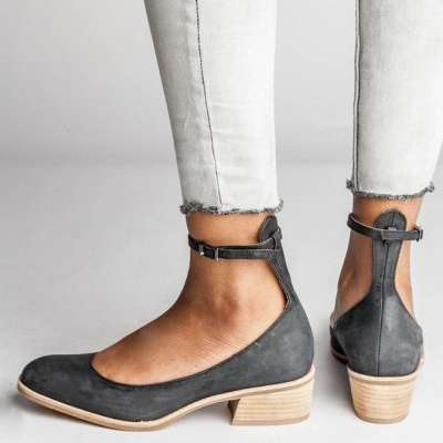 Women Adjustable Ankle Strap Slip-on Pump Sandals