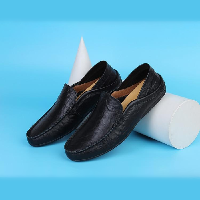 Slip On Casual Loafers Moccasins Genuine Leather Men's Flats Shoes