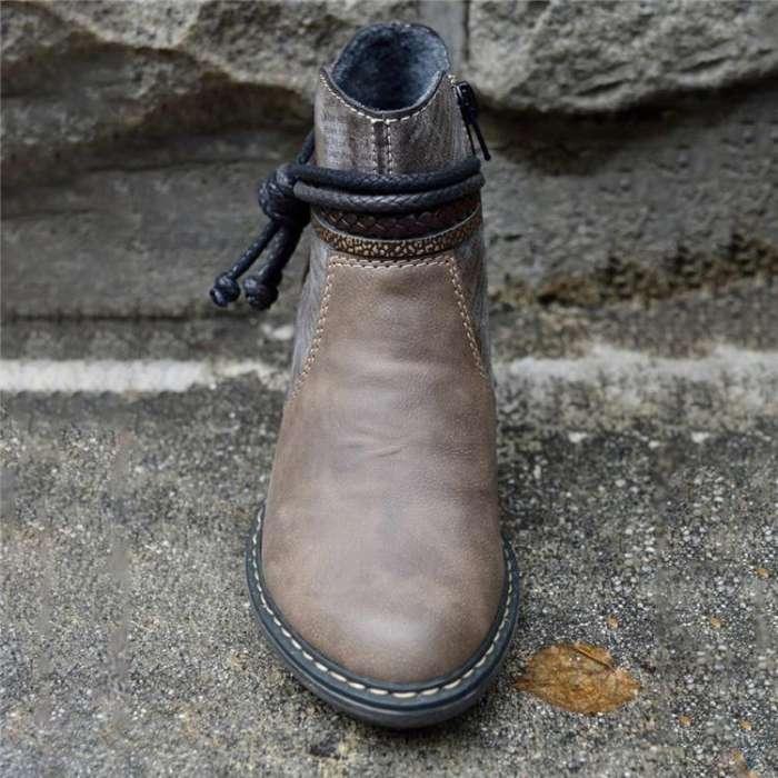 Brown Pu Block Heel Boots