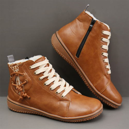 Round Toe Flat Heel Lace-Up Women Fashion Boots