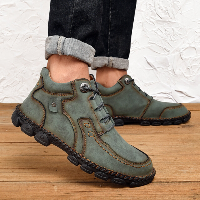Men Hand Stitching Leather Non Slip Retro Casual Ankle Boots
