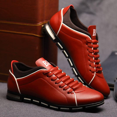 Men's Casual British Style Flats PU Leather Lace Up Oxford Shoes