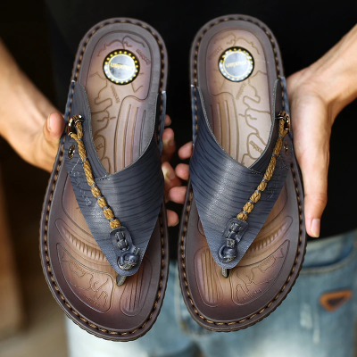 Men's Genuine Leather Casual Sandals Flip Flops