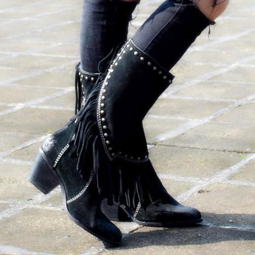 Women Low Heel Chunky Tassels Boots