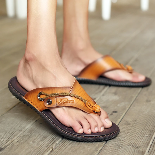 Men's Genuine Leather Casual Sandals Flip Flops