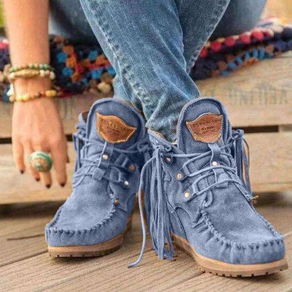 Fringed Lace-up Women's Booties