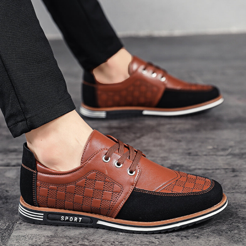 Men Microfiber Leather Splicing Non Slip Soft Sole Casual Shoes
