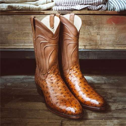Men's Ostrich Zip-Up Boot - Full-Quill Zipper Cowboy Boots