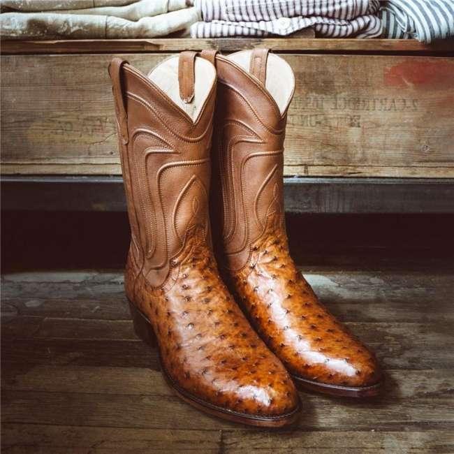 Men's Ostrich Zip-Up Boot - Full-Quill Zipper Cowboy Boots