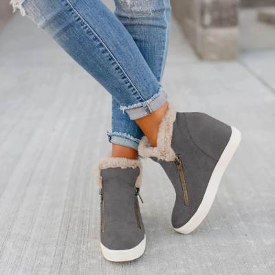 Warm Zipper Platform  Boots