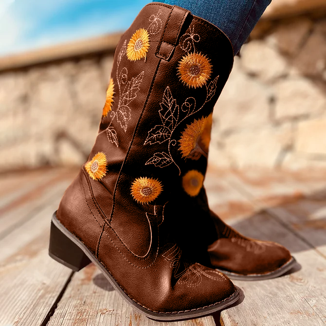 Sun Flower Embroidery Leatherette Low Ankle Boot