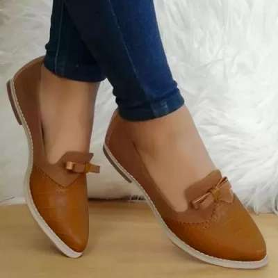 Women's Bowknot Pointed Toe Low Heel Loafers