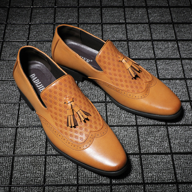 Men Formal Wedding Dress Shoes Brogue Carving Oxford Shoes