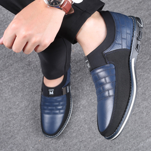 Men Artificial Leather Splicing Non Slip Metal Soft Sole Casual Shoes