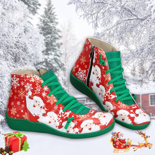 >>Christmas Gift |Women Plus Size Vintage Comfy Lace-up Boots Flat Heel Shoes