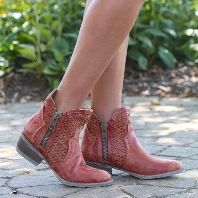 Women's Comfortable Low Heel Ankle Bootie