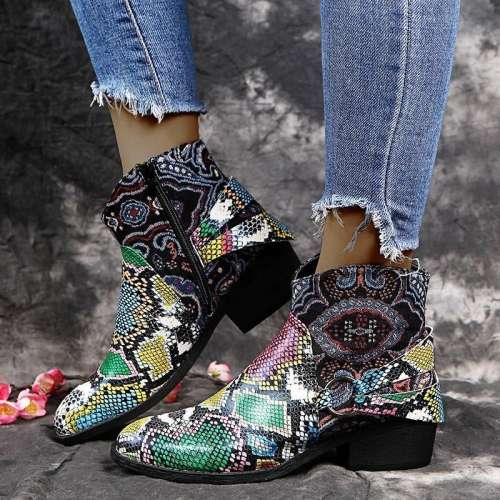 Women Chic Snakeskin Characteristic Pattern Mixed Colors Boots