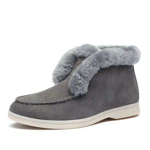 Suede leather Boots Natural-fur Warm Winter Boots