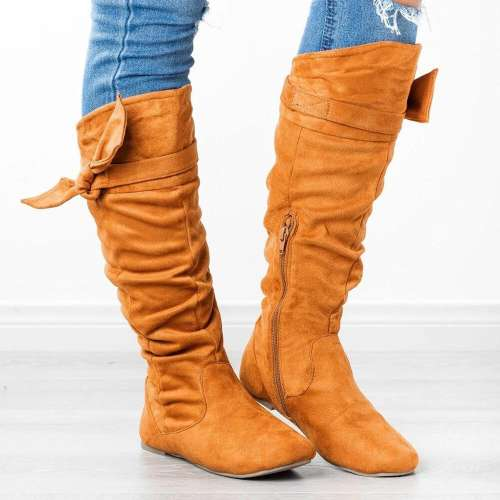 Large Size Women Comfy Suede Lace Up Zipper Knee Length Flat Boots