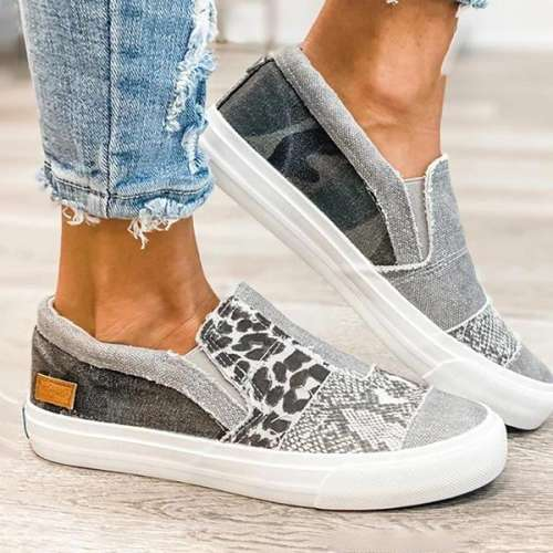 Pieced Raw Edge Animal Print Canvas Slip-On Flats