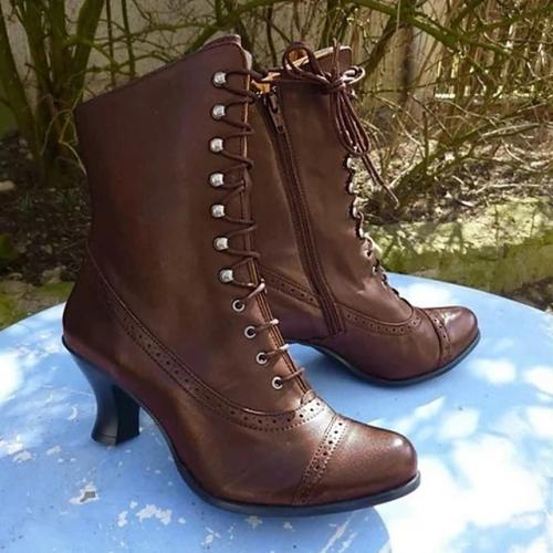 Women's Boots Comfort Shoes Low Heel Round Toe PU Booties