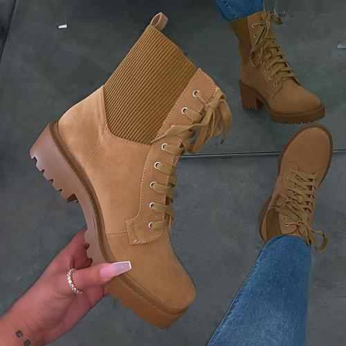 Suede Elastic Strap Flat Fashion Boots
