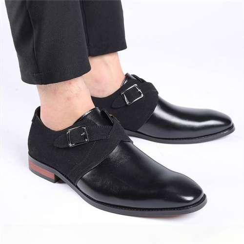 Men Mixed Color Design Slip-on Leather Causal Shoes
