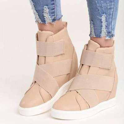 Fashion Velcro Inside Increased Short Boots