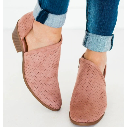 *Risk Side Cut Out Flats Shoes Boots