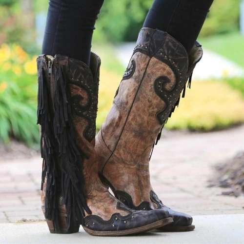 Side Zipper Suded Vintage Boots
