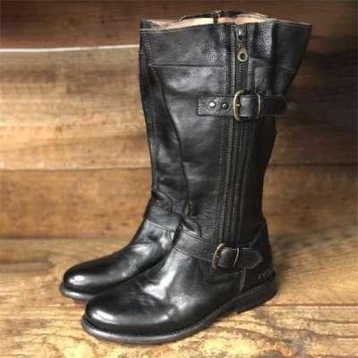 Women's Gogo Lug Black Rustic Wide Calf Boots